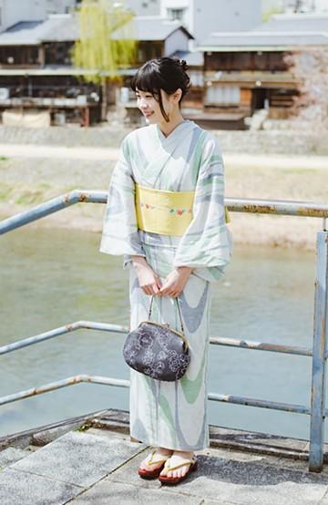 haco! ひでや工房 京都のからみ織ジャカード浴衣 <ベージュ系その他>の商品写真