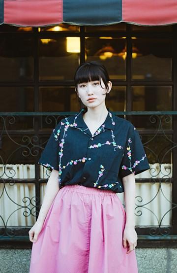 haco! 京都の浴衣屋さんと作った浴衣生地のシャツ <ブラック系その他>の商品写真