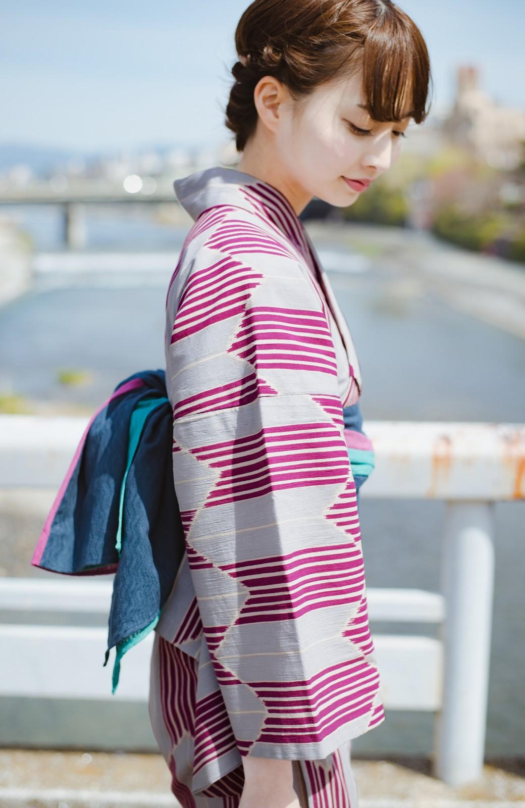 haco! ひでや工房 京都の綿ちりめん浴衣 <パープル系その他>の商品写真6
