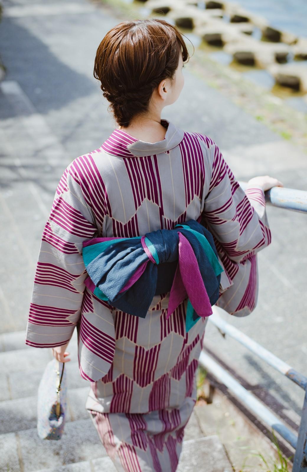 haco! ひでや工房 京都の綿ちりめん浴衣 <パープル系その他>の商品写真8