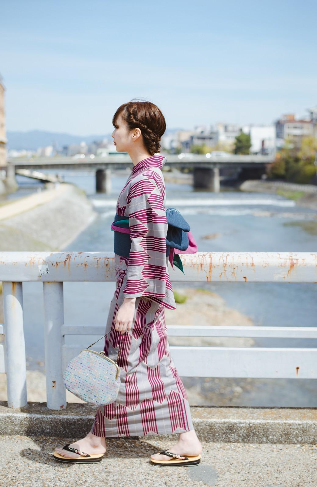 haco! ひでや工房 京都の綿ちりめん浴衣 <パープル系その他>の商品写真12