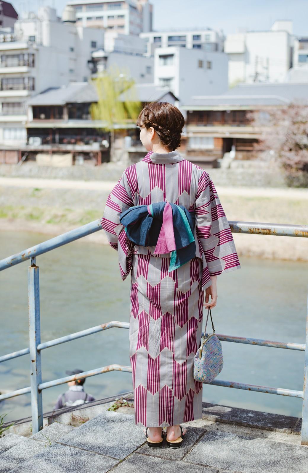 haco! ひでや工房 京都の綿ちりめん浴衣 <パープル系その他>の商品写真14