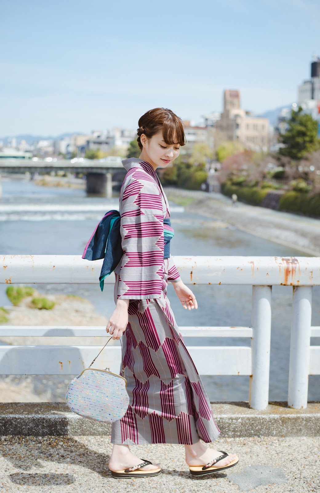 haco! ひでや工房 京都の綿ちりめん浴衣 <パープル系その他>の商品写真15