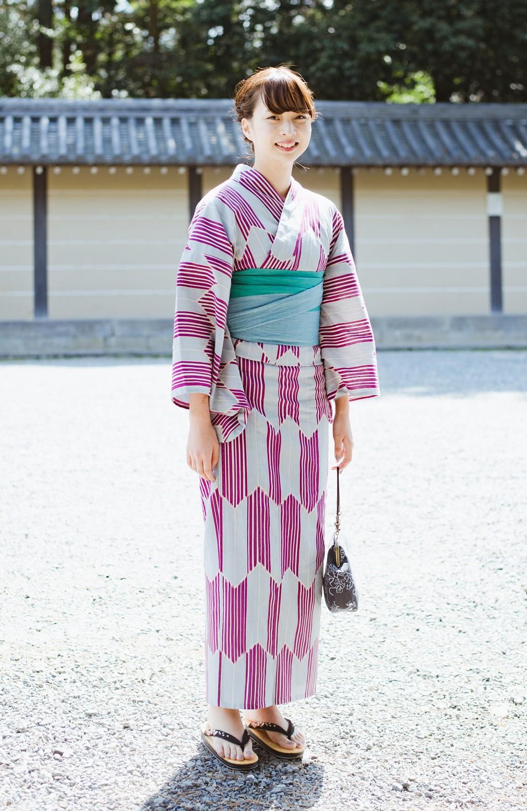 haco! ひでや工房 京都の綿ちりめん浴衣 <パープル系その他>の商品写真5