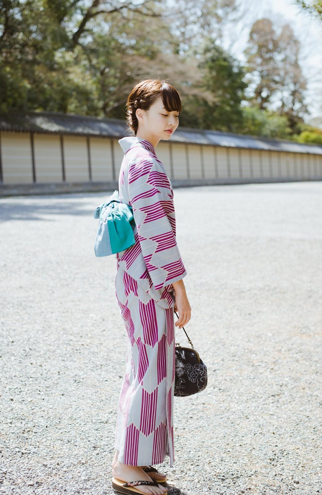 haco! ひでや工房 京都の綿ちりめん浴衣 <パープル系その他>の商品写真16
