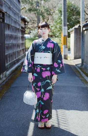 haco! ひでや工房 京都の綿ちりめん浴衣 <スミクロ>の商品写真