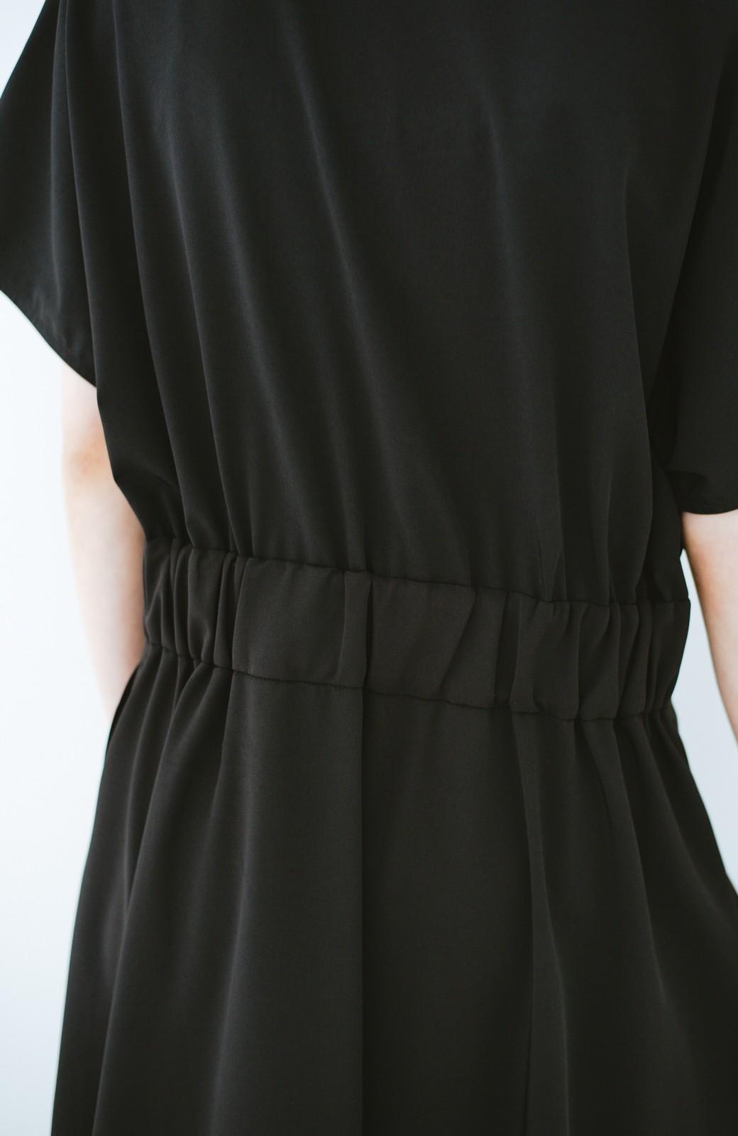 haco! ラクして華奢見え女見え ウエストベルトデザインカシュクールワンピ <ブラック>の商品写真6