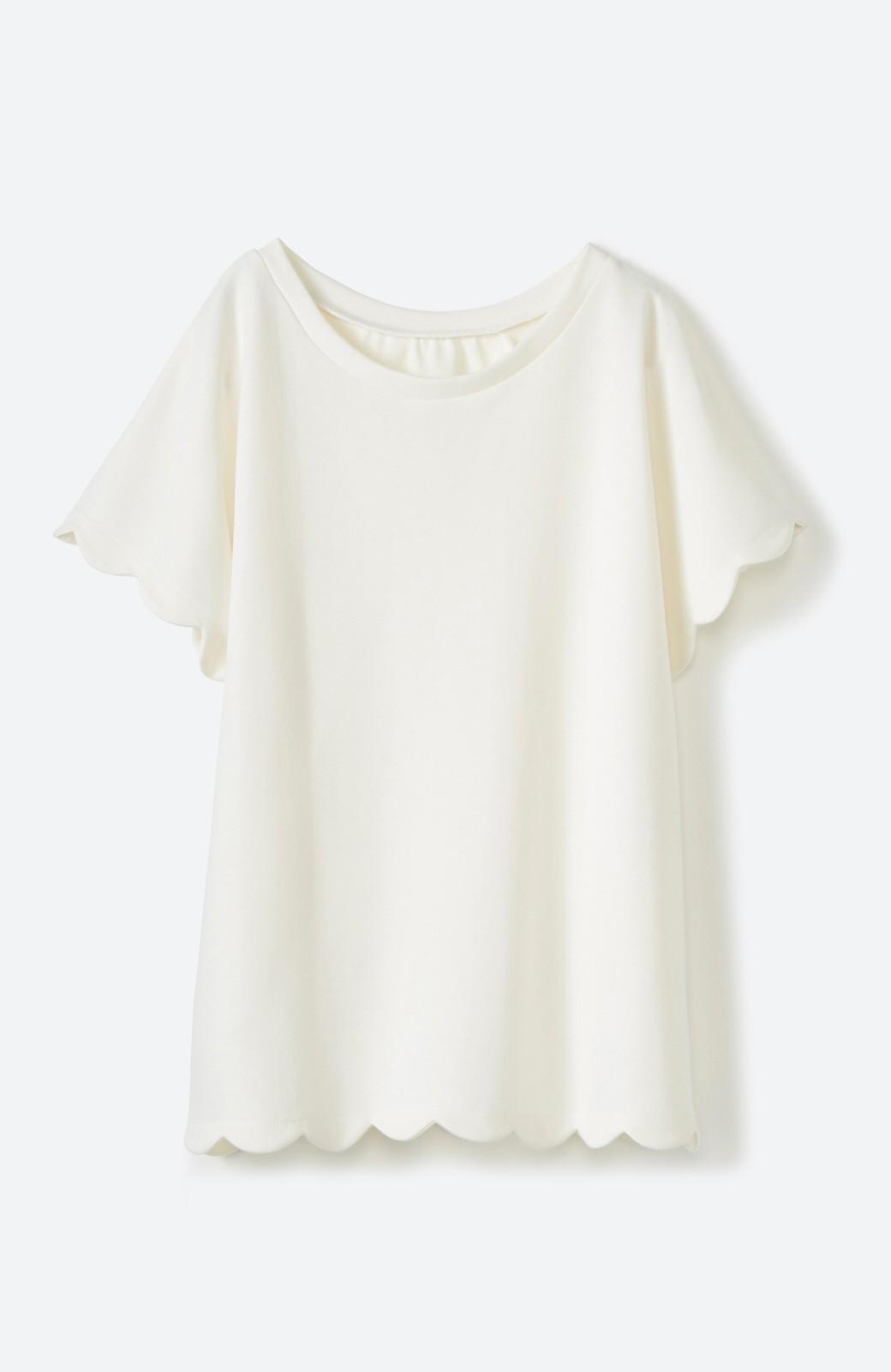 haco! haco! いつものTシャツよりかわいげご用意 スカラップカットソートップス <ホワイト>の商品写真2