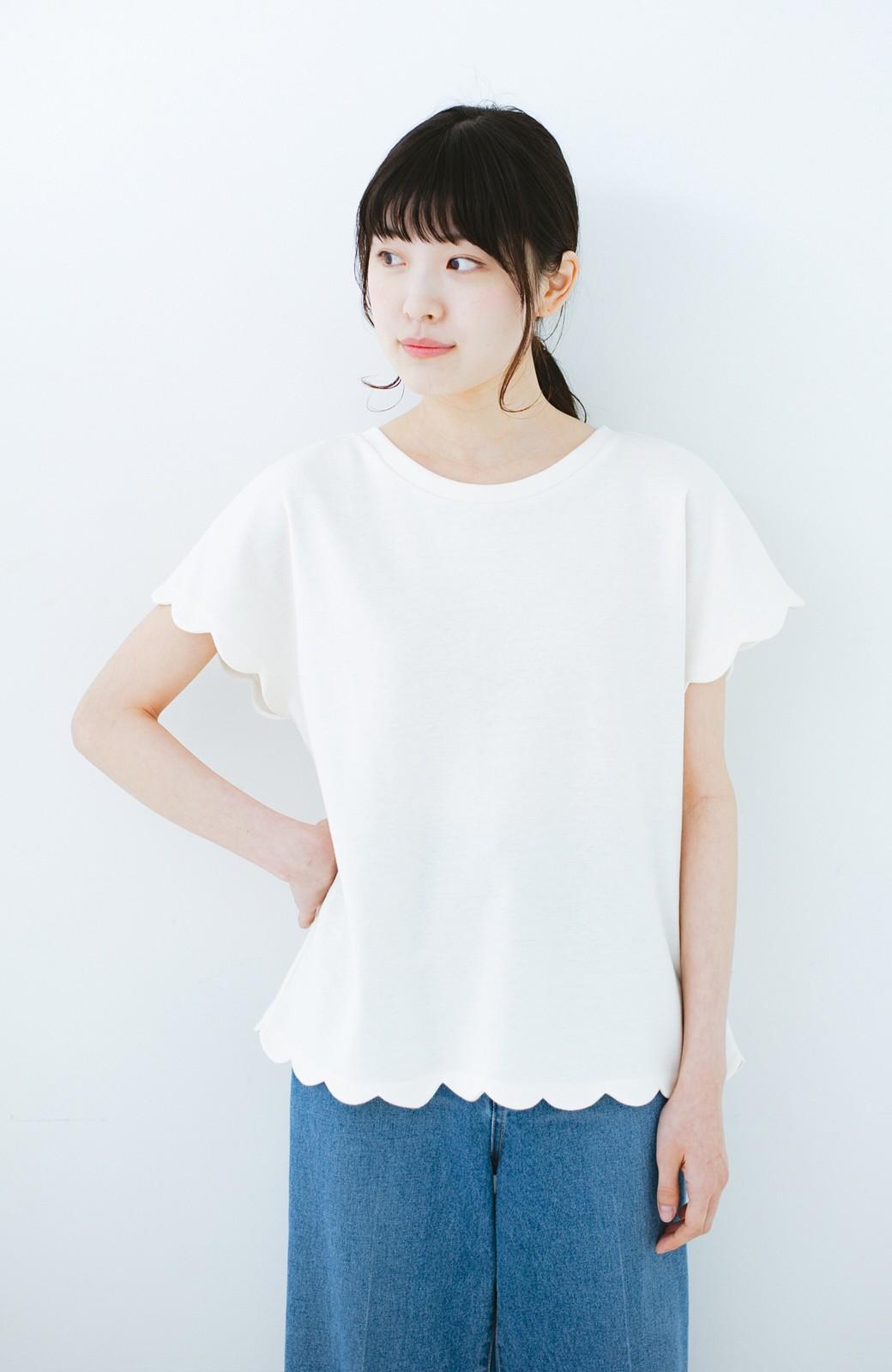 haco! haco! いつものTシャツよりかわいげご用意 スカラップカットソートップス <ホワイト>の商品写真7