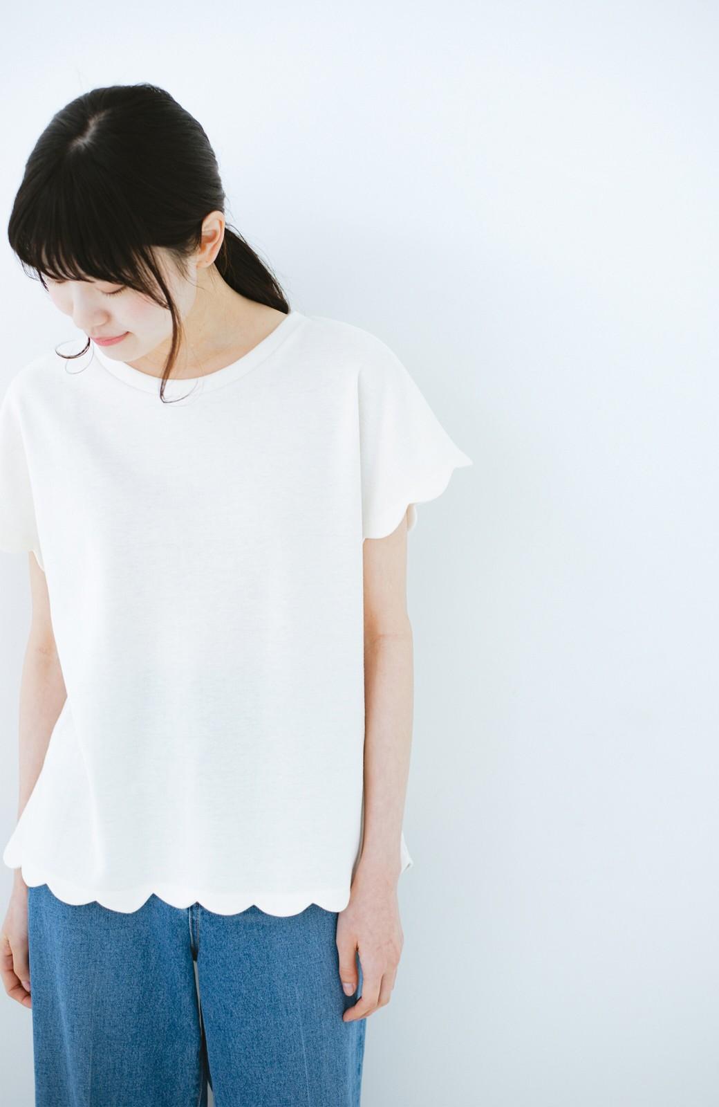 haco! haco! いつものTシャツよりかわいげご用意 スカラップカットソートップス <ホワイト>の商品写真8