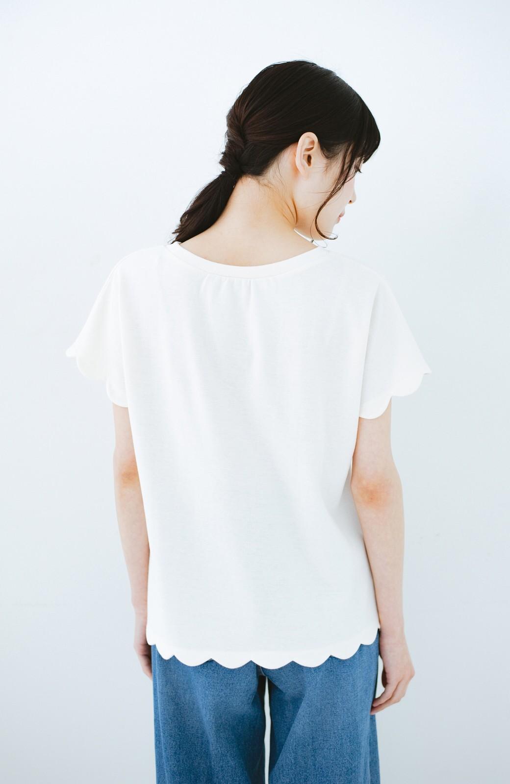 haco! haco! いつものTシャツよりかわいげご用意 スカラップカットソートップス <ホワイト>の商品写真10