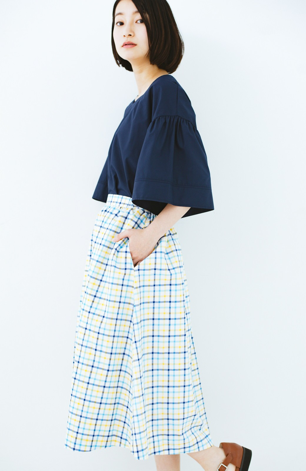 haco! ドキドキした気持ちになりたい時の華やかチェックフレアースカート <イエロー>の商品写真1