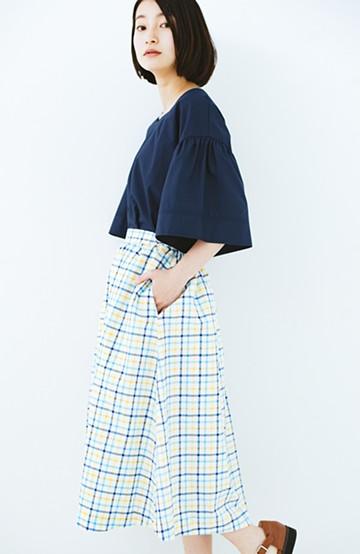 haco! ドキドキした気持ちになりたい時の華やかチェックフレアースカート <イエロー>の商品写真