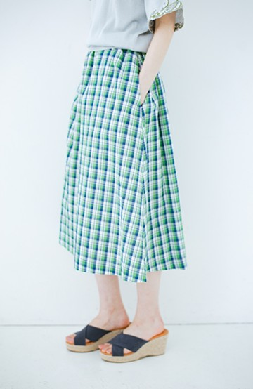 haco! ドキドキした気持ちになりたい時の華やかチェックフレアースカート <グリーン>の商品写真