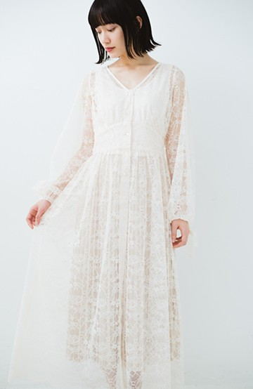 haco! KANA MATSUNAMI Lacy Maxi Dress <ホワイト>の商品写真