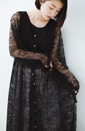 haco! KANA MATSUNAMI Lacy Maxi Dress <ブラック>の商品写真