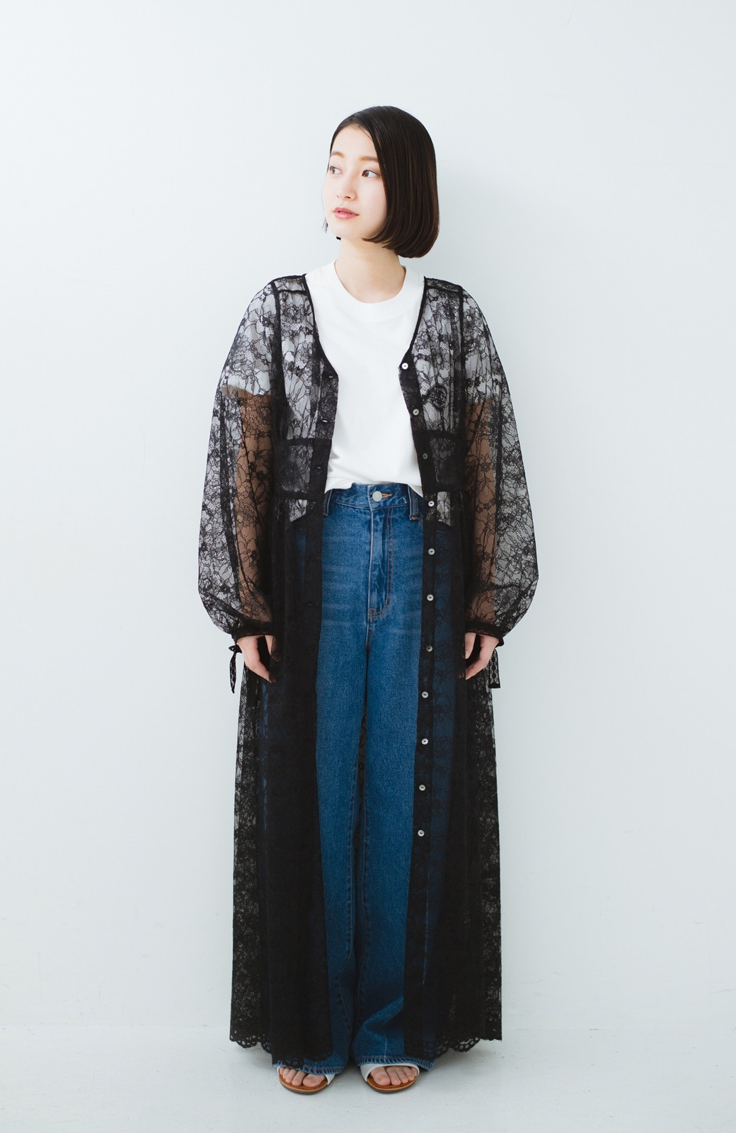 haco! KANA MATSUNAMI Lacy Maxi Dress <ブラック>の商品写真6