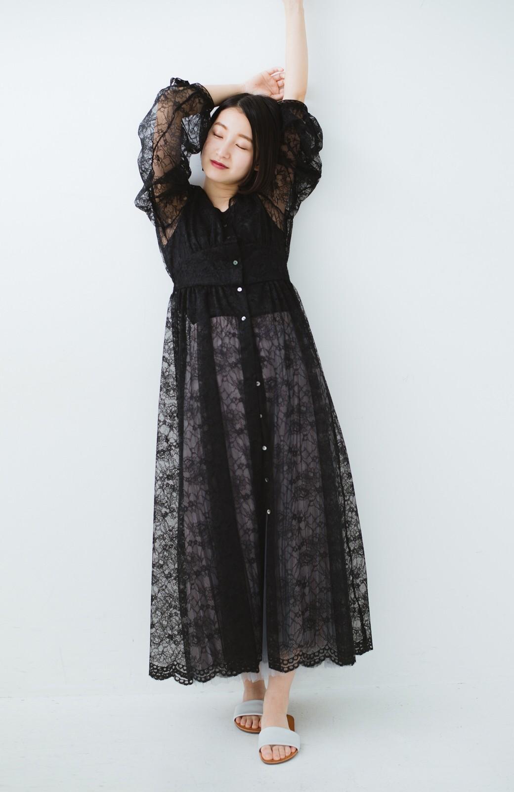 haco! KANA MATSUNAMI Lacy Maxi Dress <ブラック>の商品写真7
