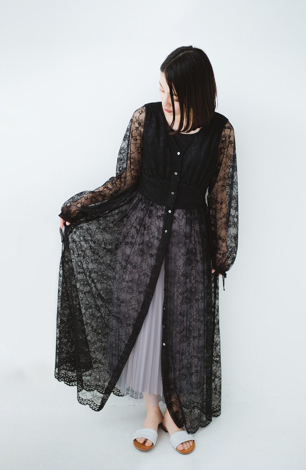 haco! KANA MATSUNAMI Lacy Maxi Dress <ブラック>の商品写真8