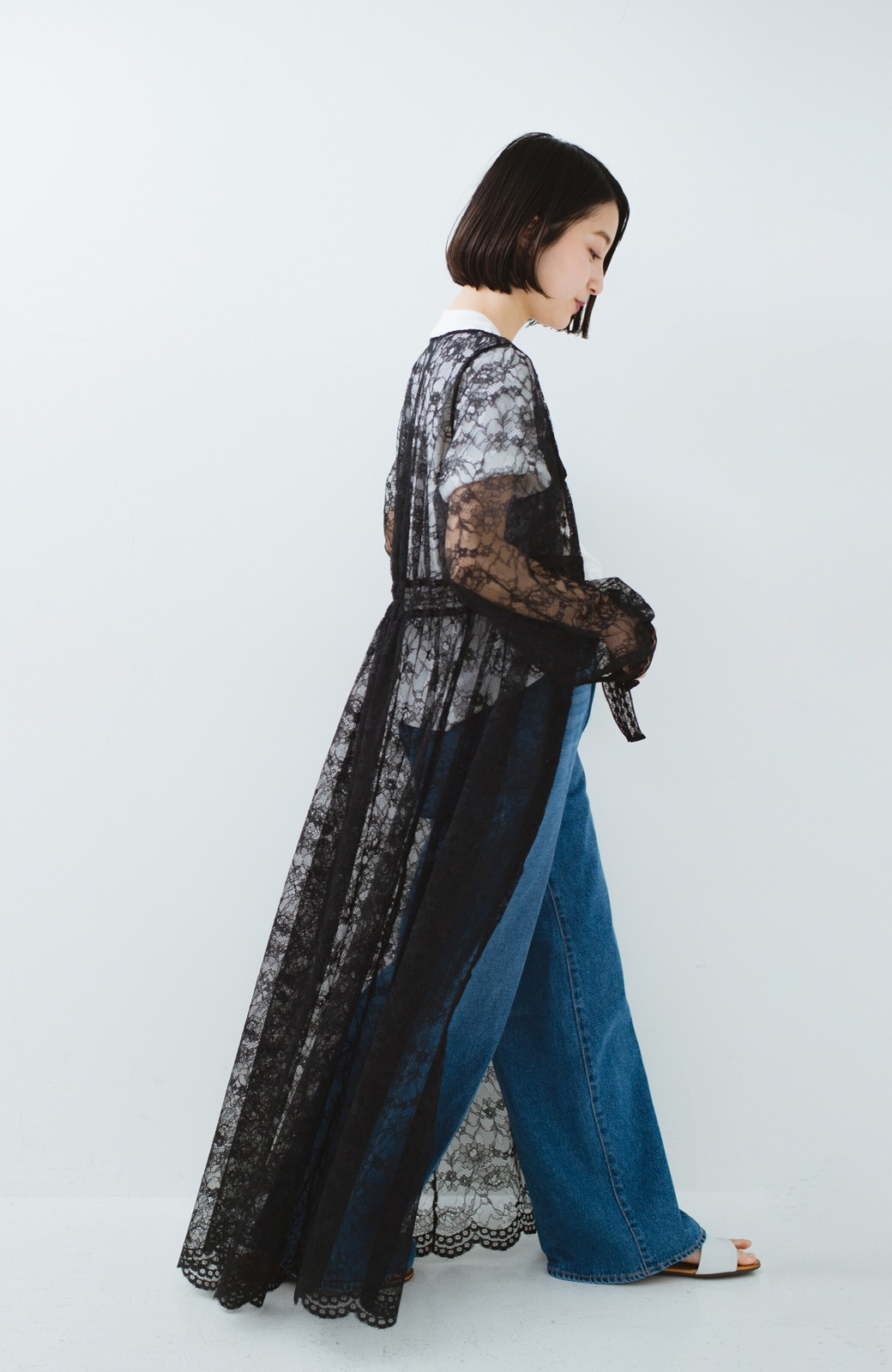 haco! KANA MATSUNAMI Lacy Maxi Dress <ブラック>の商品写真10