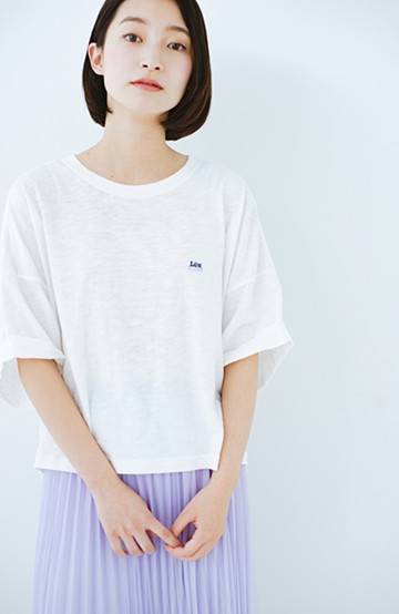 haco! Lady Lee 肩落ちショート丈Tシャツ <ホワイト>の商品写真