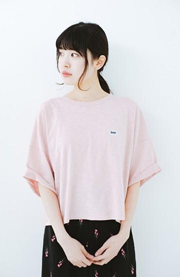 haco! Lady Lee 肩落ちショート丈Tシャツ <ピンク>の商品写真