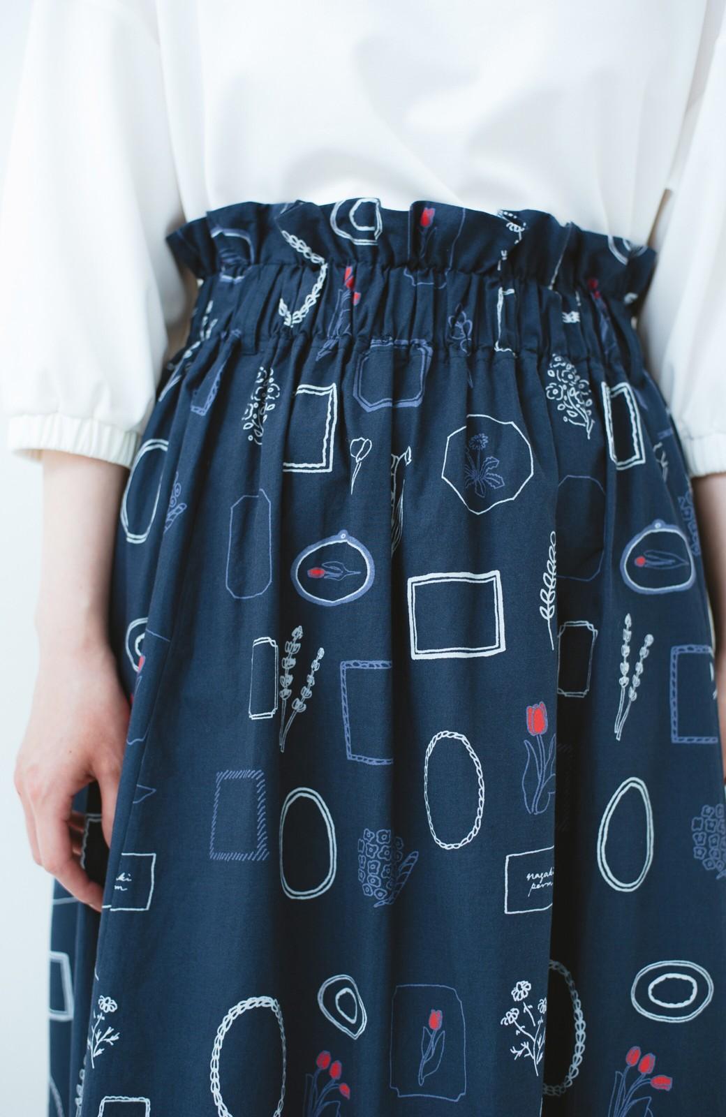 haco! PBP minne作家 ナガキパーマさんと作ったオーガニックコットンの綿麻総柄プリントスカート by haco!×minne one+more project  <ネイビー>の商品写真2