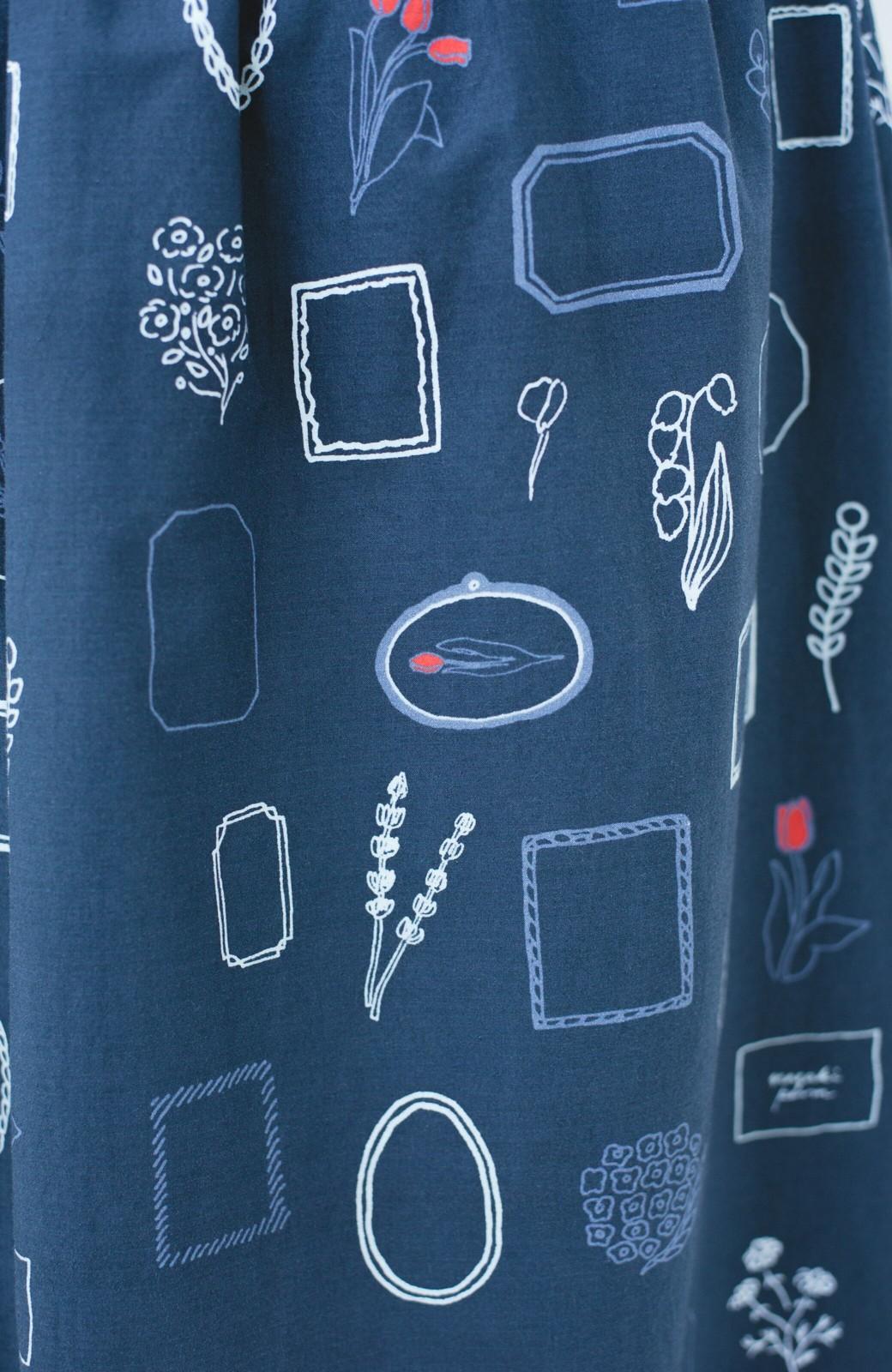 haco! PBP minne作家 ナガキパーマさんと作ったオーガニックコットンの綿麻総柄プリントスカート by haco!×minne one+more project  <ネイビー>の商品写真3