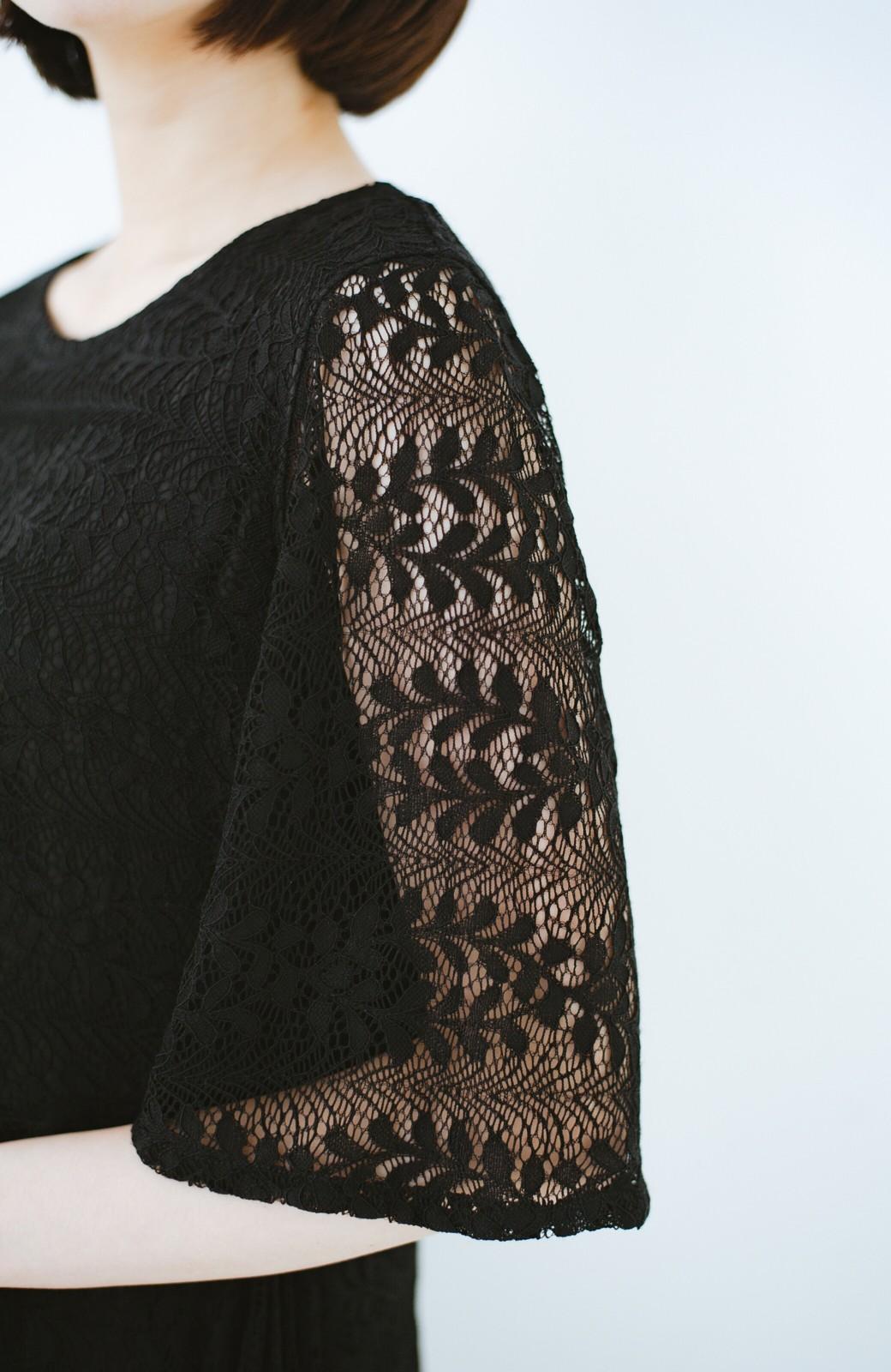 haco! 結婚式にも便利!スカートのドレープがきれいなレースワンピース <ブラック>の商品写真4