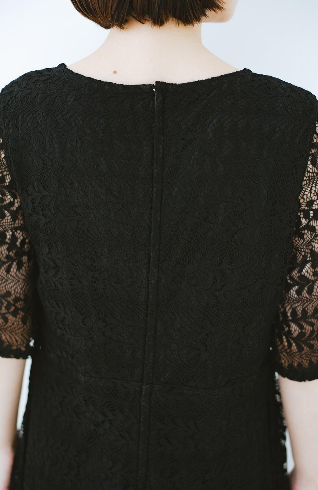 haco! 結婚式にも便利!スカートのドレープがきれいなレースワンピース <ブラック>の商品写真5