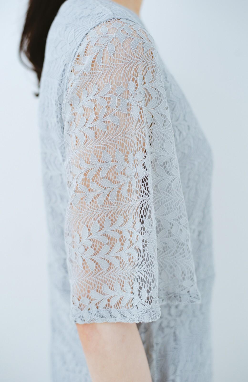 haco! 結婚式にも便利!スカートのドレープがきれいなレースワンピース <グレー>の商品写真4
