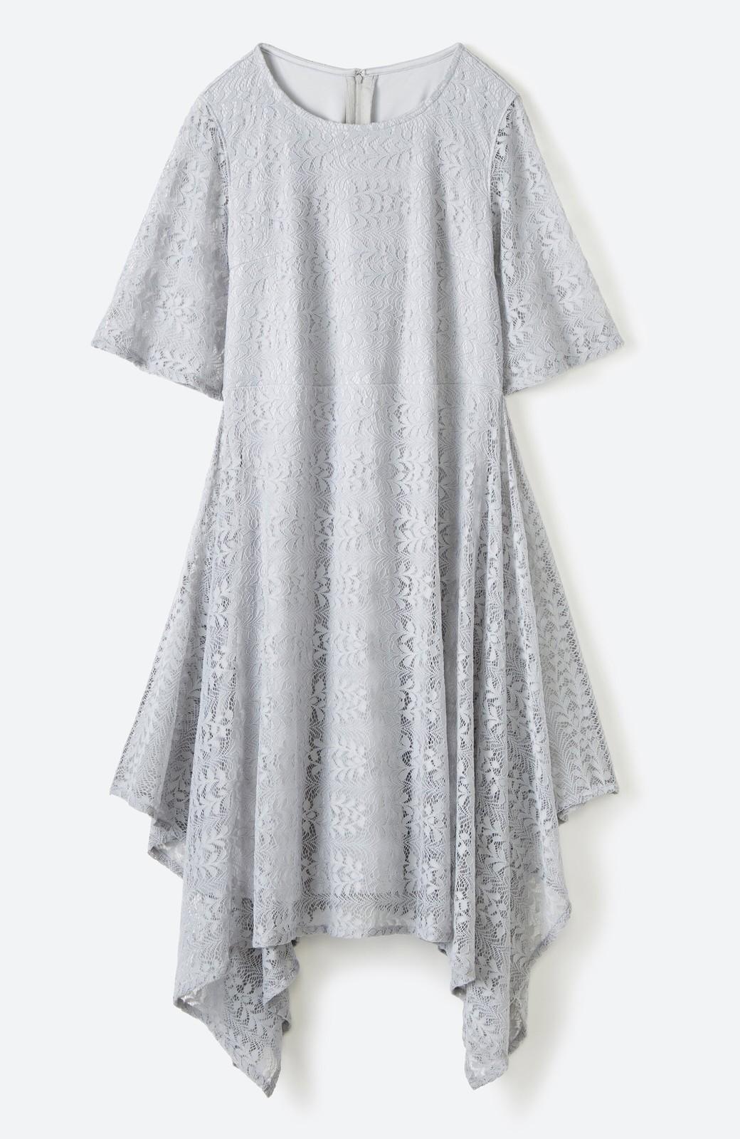 haco! 結婚式にも便利!スカートのドレープがきれいなレースワンピース <グレー>の商品写真2