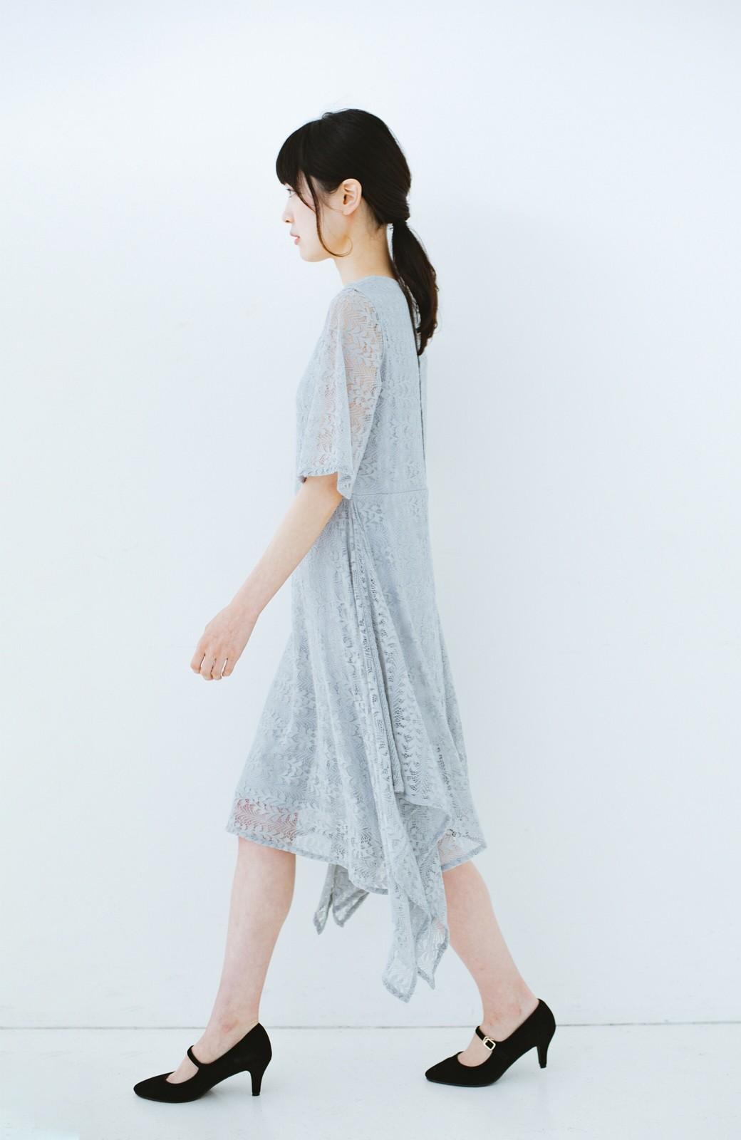 haco! 結婚式にも便利!スカートのドレープがきれいなレースワンピース <グレー>の商品写真9