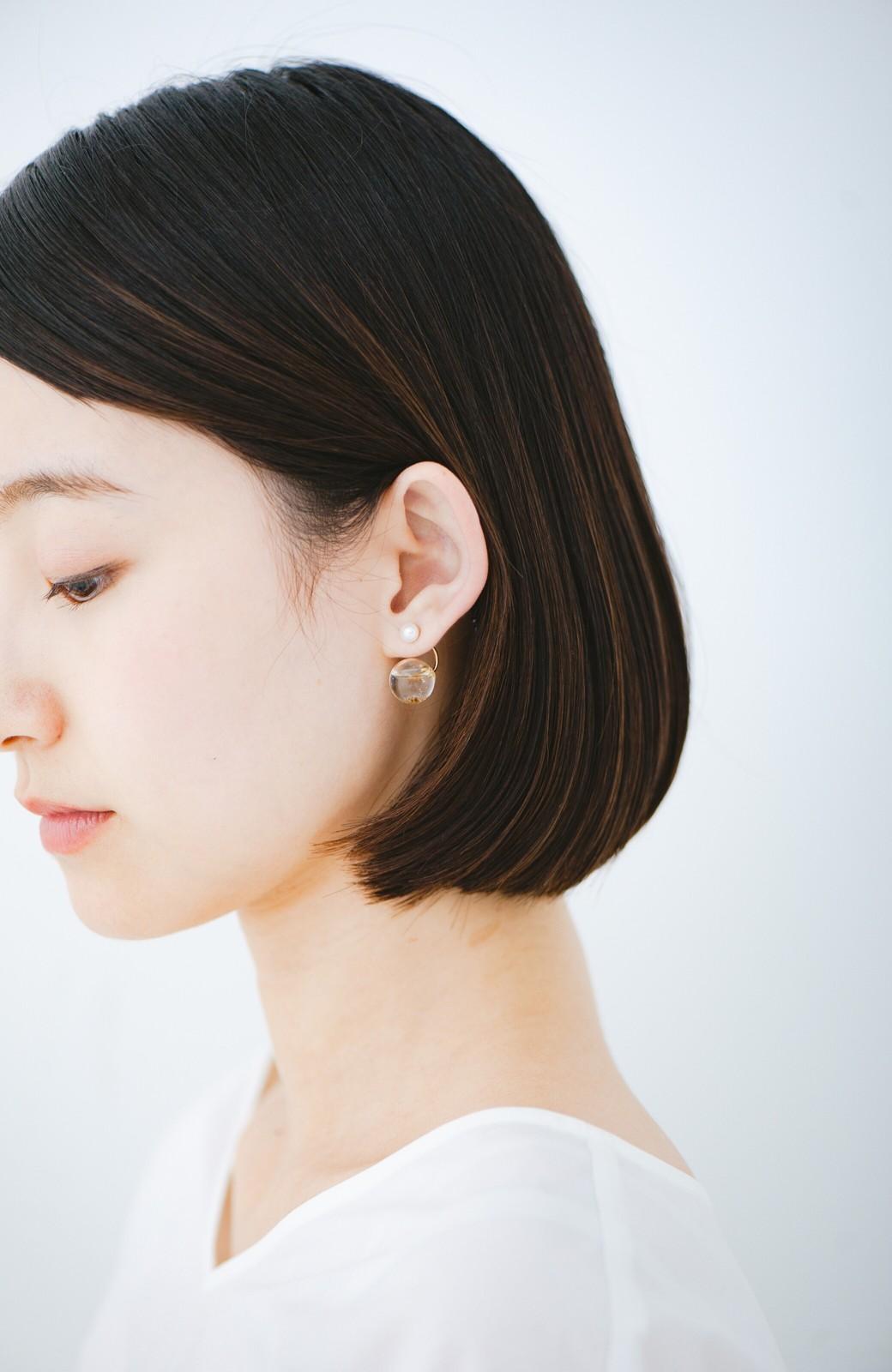 haco! てとひとて KANA MATSUNAMI チャリティー企画 Hanging glass dome 2wayピアス <ゴールド>の商品写真2