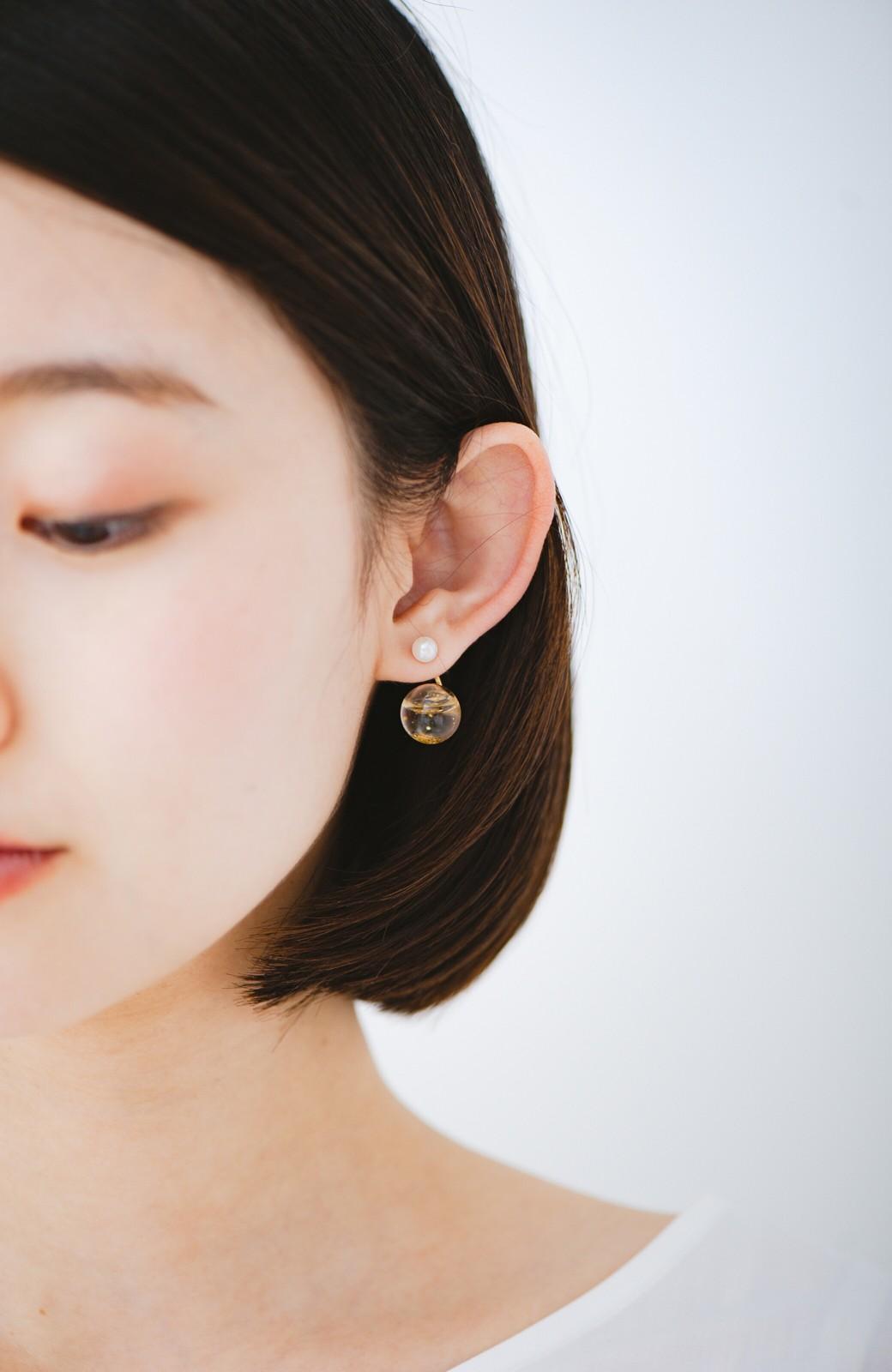 haco! てとひとて KANA MATSUNAMI チャリティー企画 Hanging glass dome 2wayピアス <ゴールド>の商品写真3