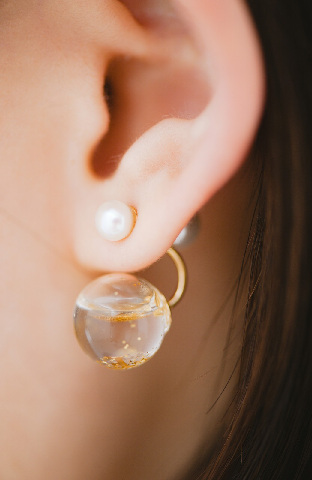 haco! てとひとて KANA MATSUNAMI チャリティー企画 Hanging glass dome 2wayピアス <ゴールド>の商品写真1