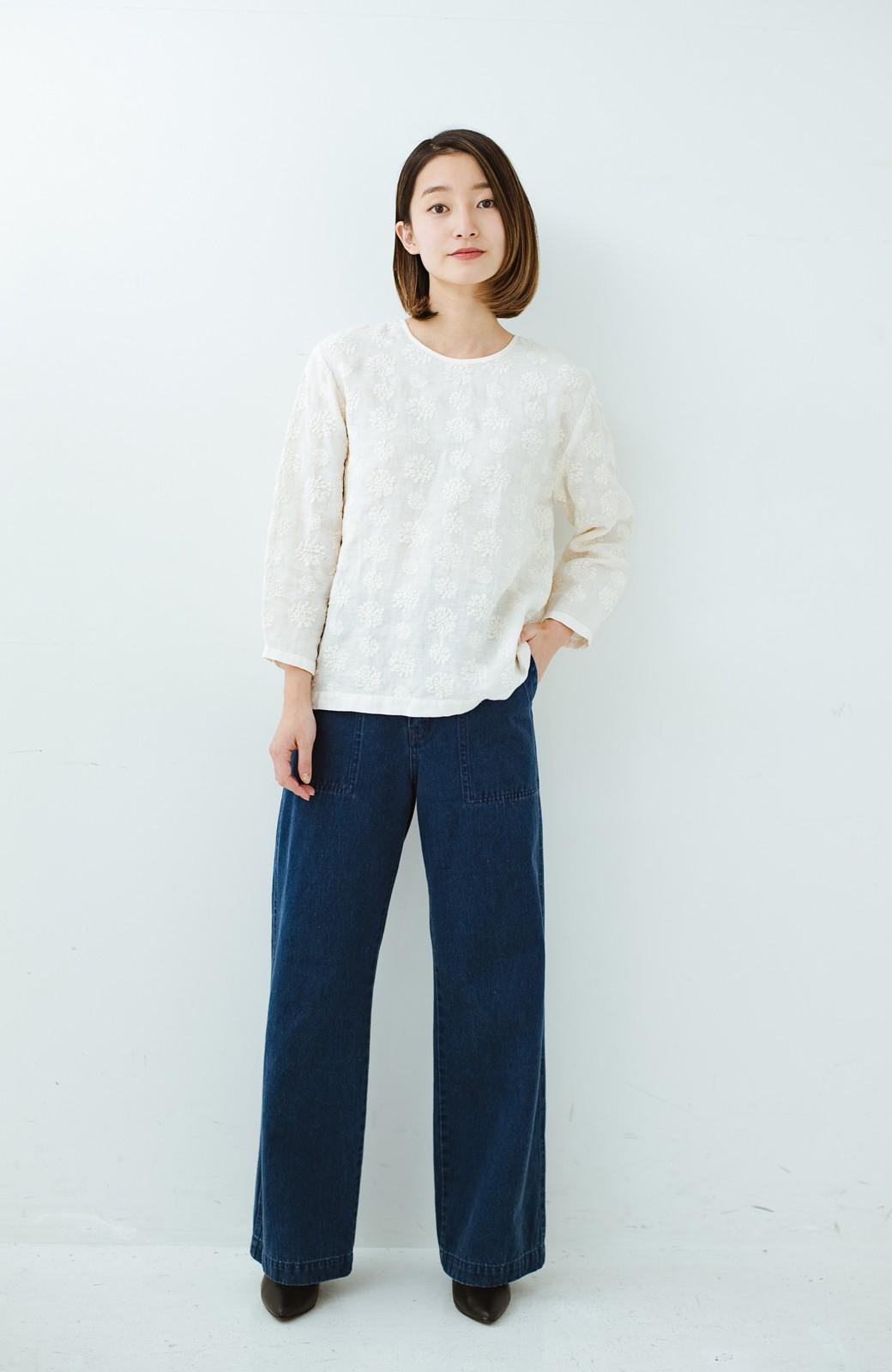 haco! てとひとて Miho Umezawa ダリア刺繍リネンブラウス <クリーム>の商品写真8