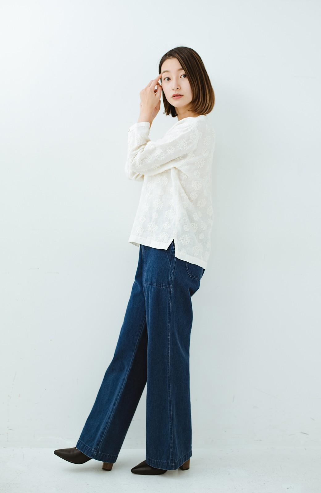 haco! てとひとて Miho Umezawa ダリア刺繍リネンブラウス <クリーム>の商品写真10