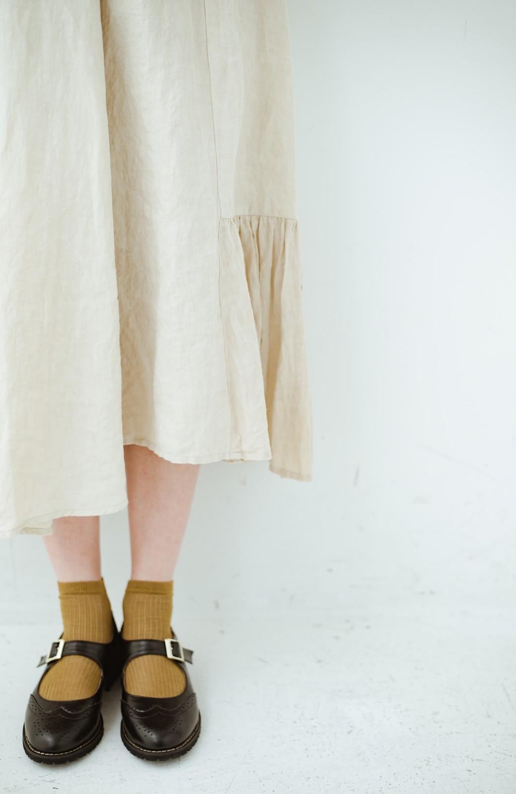 haco! てとひとて Miho Umezawa TWILL LINEN アシンメトリードレス <ライトベージュ>の商品写真2