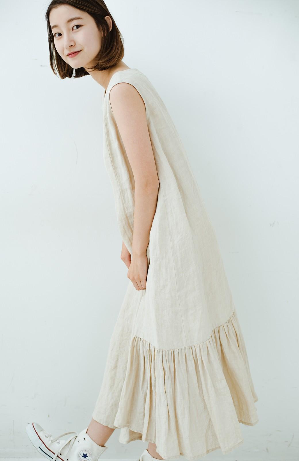 haco! てとひとて Miho Umezawa TWILL LINEN アシンメトリードレス <ライトベージュ>の商品写真16