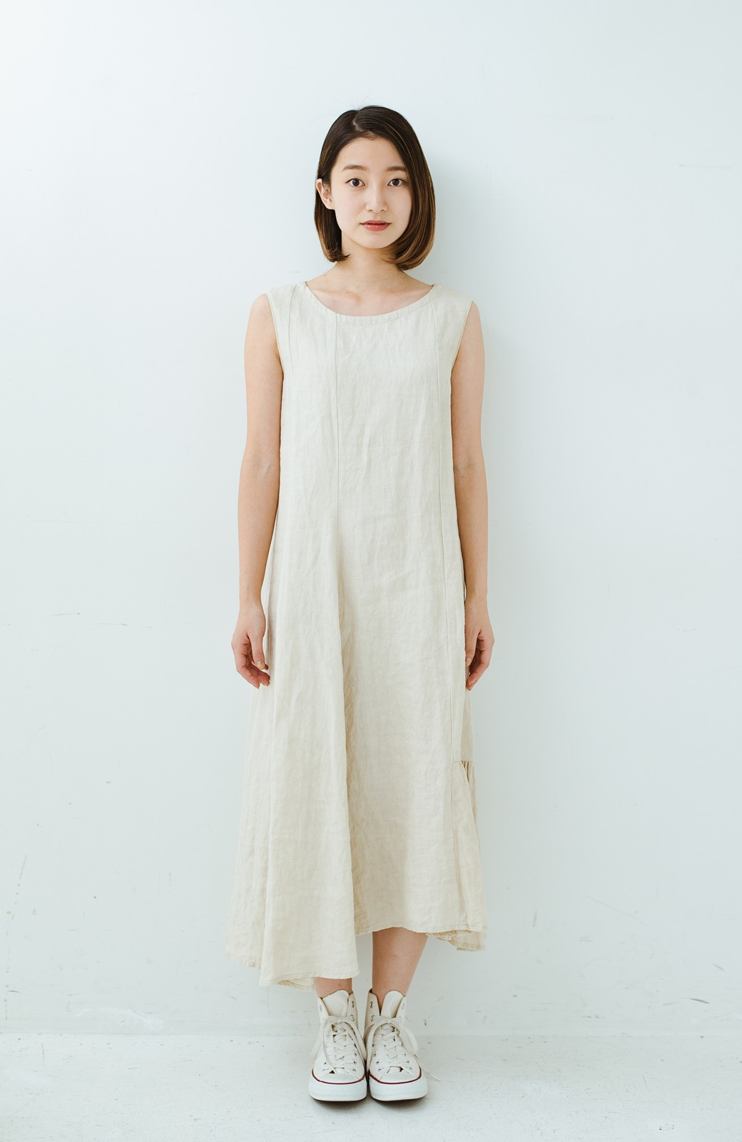 haco! てとひとて Miho Umezawa TWILL LINEN アシンメトリードレス <ライトベージュ>の商品写真8