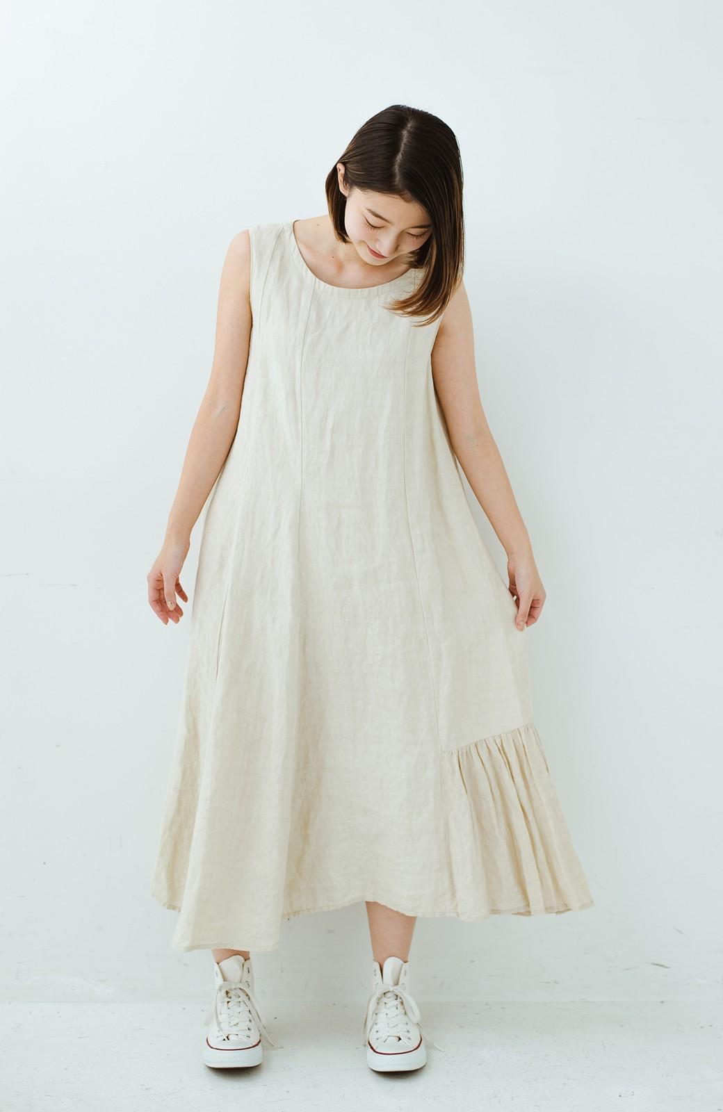 haco! てとひとて Miho Umezawa TWILL LINEN アシンメトリードレス <ライトベージュ>の商品写真9