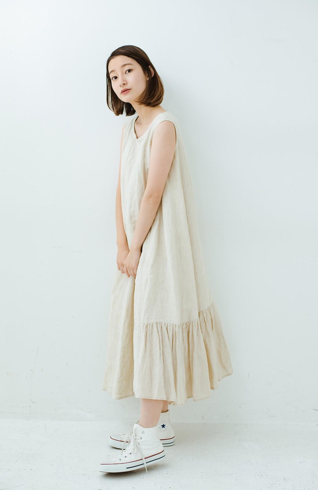 haco! てとひとて Miho Umezawa TWILL LINEN アシンメトリードレス <ライトベージュ>の商品写真14