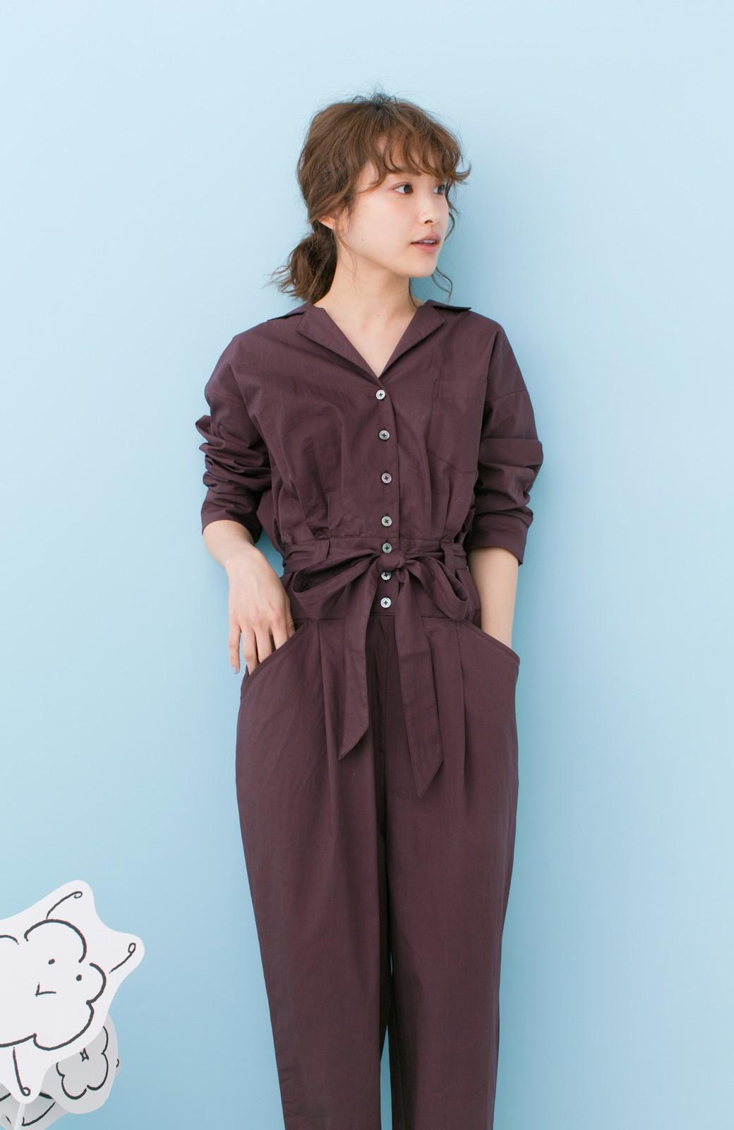 haco! PBP 高橋愛さんコラボ 大人っぽく着られるコットンシャツオールインワン <バーガンディー>の商品写真4