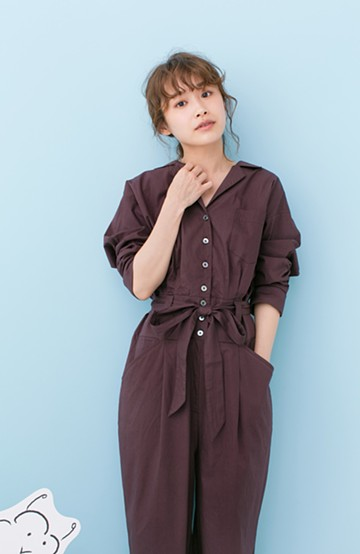 haco! 【小さいさんオススメ】PBP 高橋愛さんコラボ 大人っぽく着られるコットンシャツオールインワン <バーガンディー>の商品写真