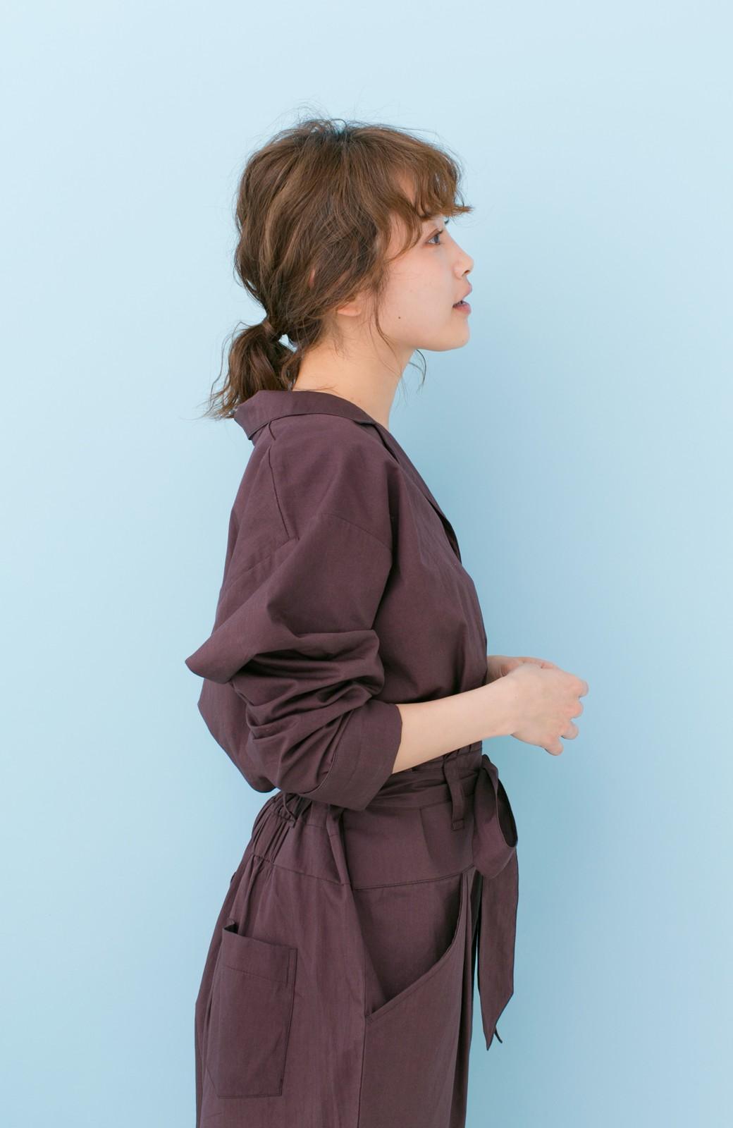 haco! PBP 高橋愛さんコラボ 大人っぽく着られるコットンシャツオールインワン <バーガンディー>の商品写真6