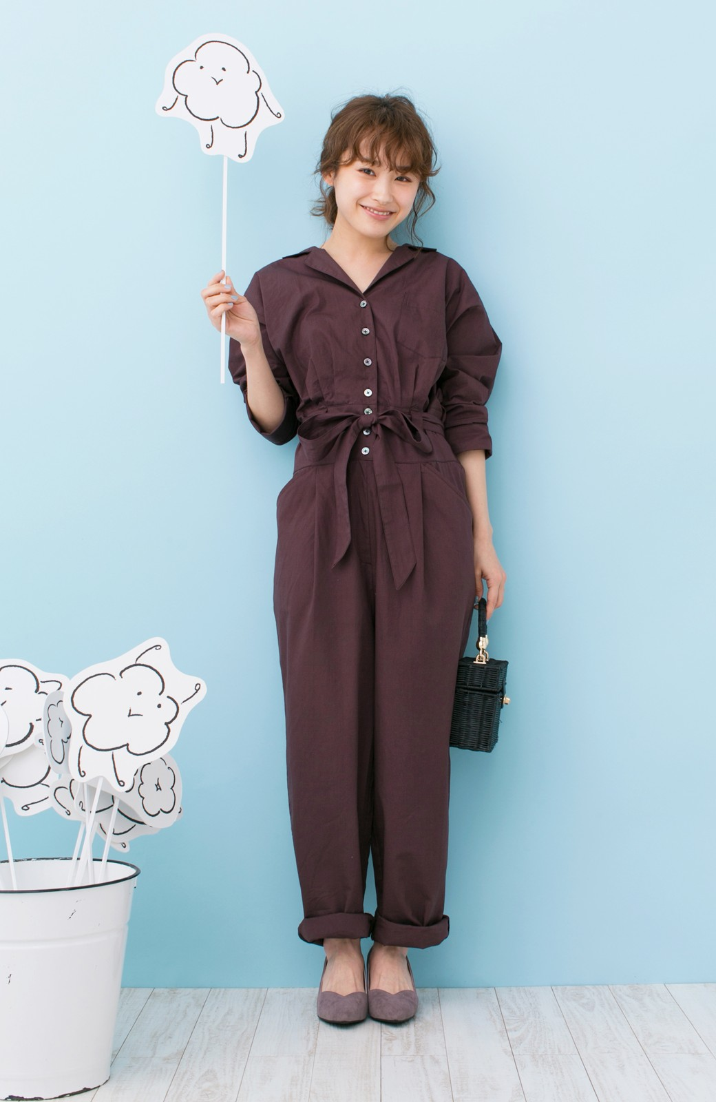 haco! PBP 高橋愛さんコラボ 大人っぽく着られるコットンシャツオールインワン <バーガンディー>の商品写真1
