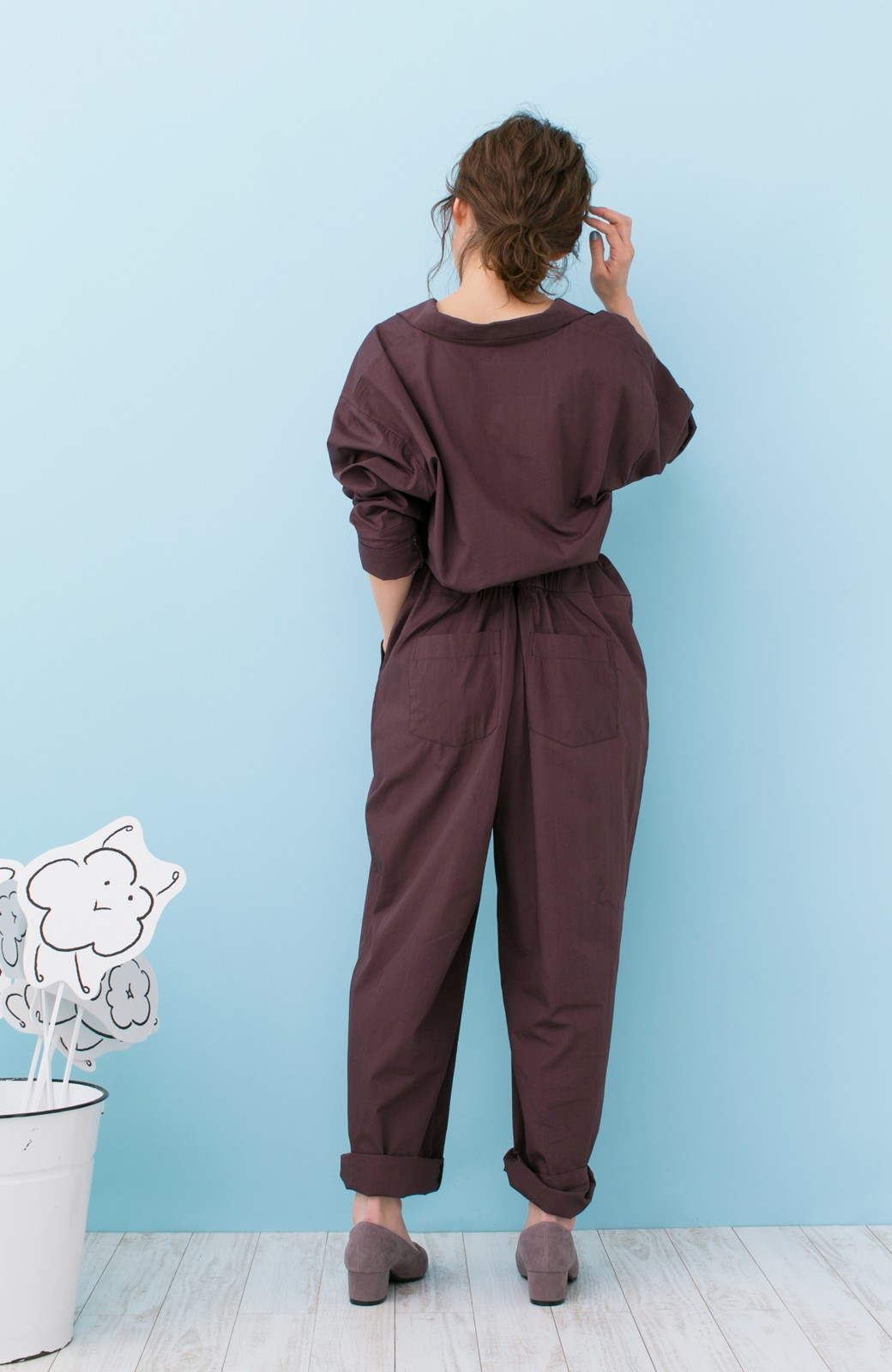 haco! PBP 高橋愛さんコラボ 大人っぽく着られるコットンシャツオールインワン <バーガンディー>の商品写真15
