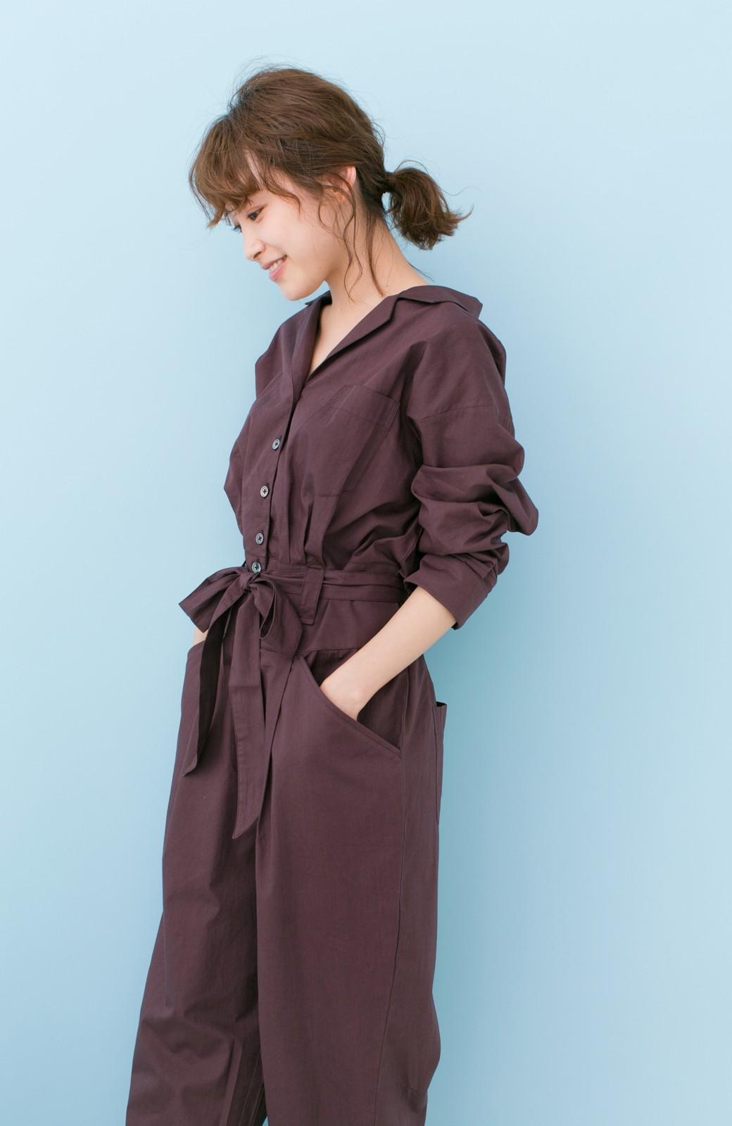 haco! PBP 高橋愛さんコラボ 大人っぽく着られるコットンシャツオールインワン <バーガンディー>の商品写真16