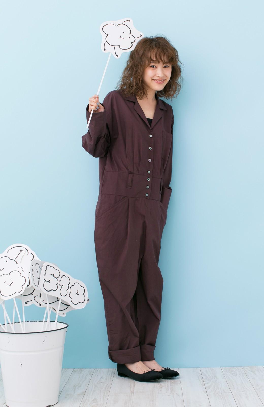 haco! PBP 高橋愛さんコラボ 大人っぽく着られるコットンシャツオールインワン <バーガンディー>の商品写真7